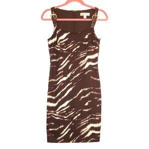 Michael Kors Brown Animal Print Buckle Dress XS